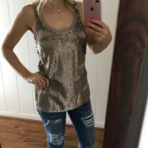 Express brown tank top with sequence.